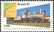 Brazil 1981 Steam Engine/ Trains/ Transport/ Railway/ Rail/ Locomotives/ Maps 1v (n25905)