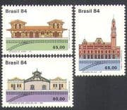 Brazil 1984 Rail  /  Railways  /  Station Buildings  /  Transport  /  Heritage 3v set (n38097)