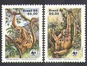 Brazil 1984 WWF  /  Spider Monkey  /  Nature  /  Wildlife  /  Conservation 2v set (n38083)