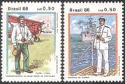 Brazil 1986 Military Uniforms/ Ships/ Navy/ Planes/ Aircraft/ Aviation/ Transport 2v set (n38088)