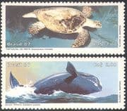 Brazil 1987 Hawksbill Turtle/ Right Whale/ Marine/ Nature/ Conservation/ Environment 2v set (n25661)