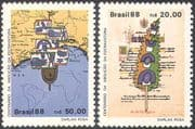 Brazil 1988 Abolition of Slavery 100th Anniversary/ Human Rights/ Ship/ Map/ Law Book/ Pen 2v set (n27645)