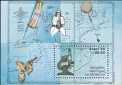 Brazil 1988 Antarctic/ Balloon/ Rocket/ Weather/ Fossil/ Maps/ Science/ Microscope 1v m/s (n23000)