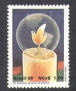 Brazil 1989 Dove  /  Candle  /  Greetings  /  Birds  /  Animation 1v (n38276)