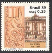 Brazil 1989 Library  /  Books  /    /  Carving  /  Sculpture  /  Buildings  /  Architecture 1v (n38126)