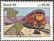 Brazil 1990 Trains/ Locomotives/ Rail/ Railways/ Map/ Transport 1v (n26452)