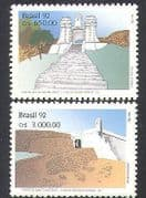 Brazil 1992 Forts  /  Fortress  /  Military  /  Buildings  /  Architecture 2v set (n38114)