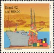 Brazil 1992  Port Santos/ Ships/ Boats/ Nautical/ Crane/ Transport/ Commerce/ Business 1v (n23682)