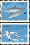 Brazil 1992 Tropic Birds/ Dolphins/ Nature/ Animals/ Conservation/ Environment/ UN Conference 2v set (n44433)