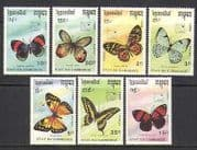 Cambodia 1989 Butterflies  /  Insects  /  Nature 7v set (b3974)