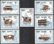 Cambodia 1989 Carriages  /  Transport  /  Philexfrance  /  Buildings  /  Architecture 7v (b8327)