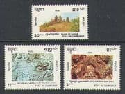 Cambodia 1990 Temple Ruins  /  Ox Carving  /  Cattle 3v n21014