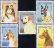 Cambodia 1996  Collie/ Labrador/ Dogs/ Pets/ Domestic Animals/ Working Dogs/ Nature  5v set (s282a)
