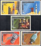 Central African Empire (Empire Centrafricain) 1977 SPACE/ Apollo-Soyuz Link-up/ Rockets 5v set (n14485)