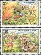 Central African Republic 1983 Animals/ Nature Protection/ Wildlife/ Fire/ Army  2v set (n22222x)