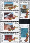 Chad 2000 Year of the Dragon/ YO/ Greetings/ Great Wall of China/ Buildings/ Architecture/ Art/ Craft 6v set (b3720)