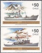 Chile 1990 Ships/ Research Boats/ Navy/ Naval/ Helicopters/ Transport 2v pr (b1144)