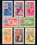 Colombia 1959 Postal Transport/S-on-S/Trains/Rail/Horse/Planes/Boat 8v (n27383)