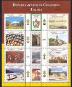 Colombia 2004 Regions  /  Waterfall  /  Church  /  Art  /  Boats  /  Nature  /  Buildings 12v sht n34913