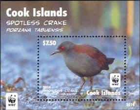 Cook Islands 2014  WWF/ Spotless Crake/ Birds/ Nature/ Wildlife/ Conservation  1v m/s  (b209e)