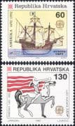 Croatia 1992 Europa/ Columbus/ Sailing Ships/ Transport/ Exploration/ Statue/ Horse  2v set (b6225h)
