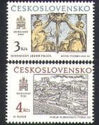 Czechoslovakia 1987 Art  /  Engraving  /  Statues  /  Carving  /  Palace 2v set (n36368)