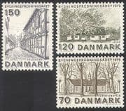 Denmark 1975 Architecture  /  Buildings  /  Heritage Year  /  Farm  /  Church 3v set (n40600)
