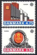 Denmark 1990 Europa  /  Post Office Buildings  /  Architecture  /  Arms 2v set (n40994)