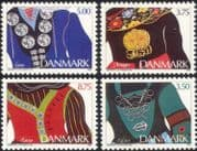 Denmark 1993 Jewellery/ Gold/ Silver/ Metal/ Design/ Art/ Costumes 4v set (n19840)