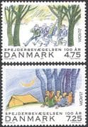 Denmark 2007 Europa/ Scouting 100th Anniversary/ Scouts/ Youth/ People/ Camping 2v set (n42650)