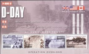 Dominica 2004 D-Day Landings 60th Anniversary/ Military/ Tanks/ Soldiers/ Army/ War 4v m/s (n15405a)