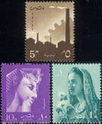 Egypt 1957 Statues/ Carvings/ Heritage/ Rameses II/ Cotton/ Factory/ Industry 3v set (n41163)