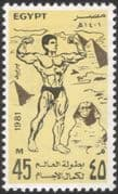 Egypt 1981 Muscular Athletics/ Sports/ Games/ Pyramid/ Sphinx/ Heritage/ History/ Athletes 1v (n44549)