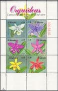 El Salvador 1999 Orchids/ Flowers/ Plants/ Nature/ Orchid 6v blk / sht (b9934)
