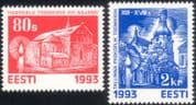Estonia 1993 Christmas/ Greetings/ Churches/ Buildings/ Architecture 2v set (ee1084)