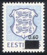 Estonia 1993 State Arms/ Lions/ Coats-of-Arms/ Heraldry/ Animals 1v surcharge (ee1077)