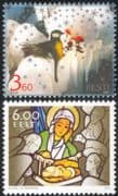 Estonia 2003 Christmas/ Greetings/ Nativity/ Stained Glass/ Great Tit/ Rose/ Birds/ Flowers/ Nature 2v set (ee1025)