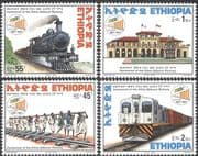 Ethiopia 1998 Trains/ Rail/ Railway/ Steam Engine /Locomotive/ Transport/ Station/ Buildings/ Architecture 4v set (n42824)