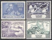 Falklands 1949 Universal Postal Union  /  UPU  /  Ship  /  Plane  /  Statue  /  Transport 4v n39820
