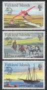 Falklands 1979 UPU  /  Aircraft  /  Horses  /  Ship  /  Planes  /  Aviation  /  Transport 3v set n39972
