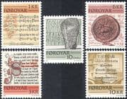 Faroe Islands/Faroes 1981 Writing/ Language/ Rune Stone/ Music/ Musical Score/ Books/ Library/ Heritage/ History 5v set (n43190)