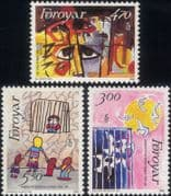 Faroes 1986 Amnesty International 25th Anniversary/ Peace/ Birds/ Animation 3v set (n30265)