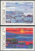 Faroes 1987 Art/ Painting/ Artists/ Torshavn/ Buildings/ Sunset 2v set (n30262)