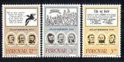 Faroes 1988 Politics  /  People  /  Birds  /  Poem 3v set (n27985)