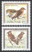 Faroes 1996 Birds  /  Nature  /  Wildlife  /  Waxwing/ Crossbill 2v set (b282)