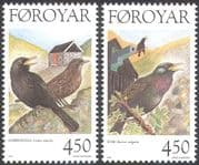 Faroes 1998 Birds  /  Nature  /  Wildlife  /  Blackbird/ Starling 2v set (b287)