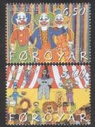 Faroes 2002 Europa  /  Circus  /  Clowns  /  Lion  /  Animals  /  Art  /  Animation 2v set (n30258)