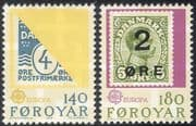 Faroes/Faroe Islands 1979 Europa/ Stamp-on-Stamp/ Philatelic/ Surcharges 2v set (n30270)