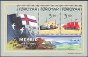 Faroes/ Faroe Islands 1990  Faroese Flag 50th Anniversary/ Ships/ Boats/ Sailing/ Transport 3v m/s (b647)