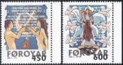 Faroes/ Faroe Islands 1999 Christmas/ Greetings/ Adam & Eve/ Angel/ Animation 2v set (n23556)